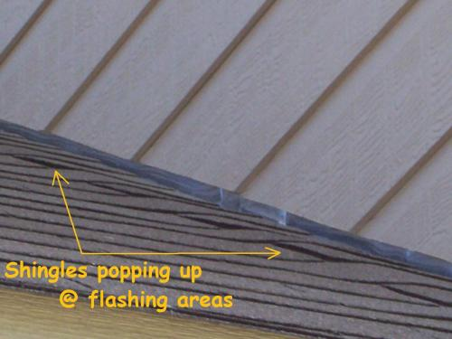 Shingles popping due to loose flashing